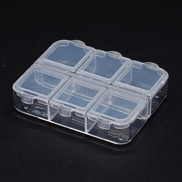 Polypropylene Plastic Bead Containers, Flip Top Bead Storage, 6 Compartments, Rectangle, Clear, 65x55x16mm(X-CON-N008-001)