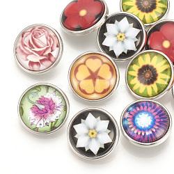 Boutons-pression en verre fleur motif laiton, boutons de bijoux, plat rond, platine, couleur mixte, 18x9 mm; bouton: 5.5 mm(SNAP-Q007-096P-M)