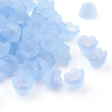 Chunky Cyan Transparent Frosted Tulip Flower Acrylic Bead Caps, Lily of the Valley, 10mm wide, 6mm thick, hole:1.5mm(X-PL543-5)