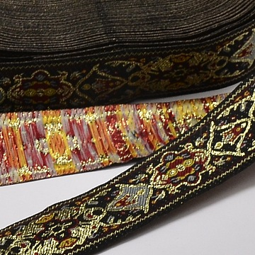 Polyester Ribbons, with Flower Pattern, Jacquard Ribbon, Black, 1-1/8 inches(30mm); 33yards/roll(30.1752m/roll)(OCOR-L018-37A-30mm)