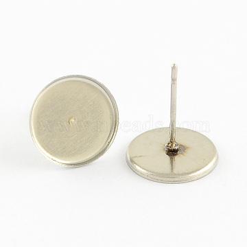 Supports clous d'oreilles en 304 acier inoxydable, avec 316 broches en acier inoxydable, couleur inoxydable, plat plateau rond: 10.5x10.5 mm; 10.5x1 mm, pin: 0.5 mm(X-STAS-Q170-06)