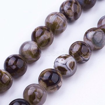 8mm Camel Round Natural Agate Beads
