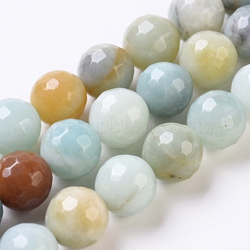 Natural Amazonite Beads Strands, Faceted, Round, 10mm, Hole: 0.8mm; about 39pcs/Strand, 15.35inches(39cm)(G-G802-01C)