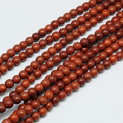 "1 brin saddlebrown teint rond synthétiques perles turquoise brins, 6mm, trou: 1mm; environ 67 pcs/chapelet, 15.75""(X-TURQ-G106-6mm-02J)"