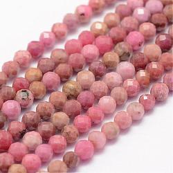 """Chapelets de perles en rhodonite naturelle, facette, rond, 3mm, trou: 0.5~0.6mm; environ 144~151 pcs/chapelet, 15.3~15.7"""" (39~40 cm)(G-F460-57)"""