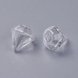 billes de globe en verre soufflé à la main, pour stud boucles d'oreilles de décision ou de l'artisanat, diamant, effacer, 16~17x15 mm, trou: 2~3.5 mm(GLAA-WH0015-06)