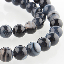 """Chapelets de perles rondes en pierre d'agate naturelle, teint, noir, 8mm, trou: 1mm; environ 49 pcs/chapelet, 14.96""""(G-E233-04)"""