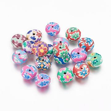 Handmade Polymer Clay Flat Round Beads, with Flower Pattern, Mixed Color, 11~12x6~7mm, Hole: 3mm(X-CLAY-Q217-07)