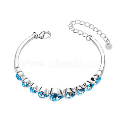SHEGRACE Cute Design Platinum Plated Brass Link Bracelet, with Mazarine Austrian Crystal Hearts, 160x10mm(JB75A)