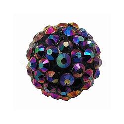 Бусины со стразами из смолы, DIY Шарики прокладки для серьги супруг баскетбола, круглые, AB цвет, индиговые, Размер : диаметром около 16 мм , отверстие : 2 мм(X-RESI-A003-4)