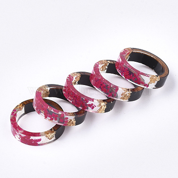 Epoxy Resin & Ebony Wood  Rings, with Dried Flower, Gold Foil, Deep Pink, 17mm(RJEW-S043-02B-02)