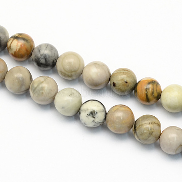 Natural Picasso Stone/Picasso Jasper Beads Strands, Round, 6.5mm, Hole: 1mm; about 63pcs/strand, 15.5inches(G-S187-6mm)