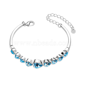 SHEGRACE Cute Design Platinum Plated Brass Link Bracelet, with Mazarine Austrian Crystal Hearts, 160x10mm(JB75A)