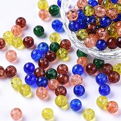 Perles de verre craquelé peintes, halloween mix, rond, couleur mixte, 6~6.5x5.5~6mm, trou: 1 mm; environ 200 PCs / sachet (DGLA-X0006-6mm-07)