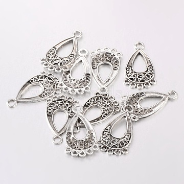 Tibetan Style Chandelier Component Links, teardrop, Antique Silver, Lead Free and Cadmium Free, 28x15.5x1mm, Hole: 1.5mm(X-EA434Y)