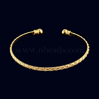 Perfect Design Real 18K Gold Plated Brass Torque Cuff Bangle(BJEW-EE0001-05)-2