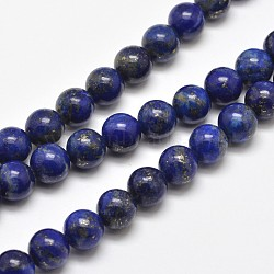 Natural Lapis Lazuli Round Bead Strands, 6mm, Hole: 1mm; about 62pcs/strand, 15.5inches