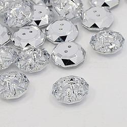 Boutons en acrylique avec strass, 2-trou, facette, plat rond, cristal, 18.5x18x6.5mm, Trou: 1mm(X-BUTT-J003-01)