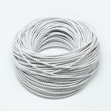 Leather Braided Cord, White, 5mm, about 54.68 yards(50m)/bundle(WL-Q005-5mm-2)