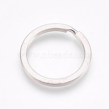 Alloy Split Key Rings, Keychain Clasp Findings, Platinum, 25x2mm, Inner Diameter: 20mm(X-PALLOY-TAC0001-01B-P)