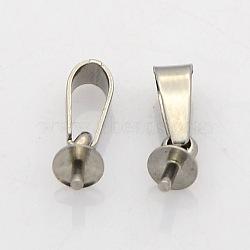 304 pendentifs à clous en acier inoxydable, pour la moitié de perles percées, couleur inoxydable, 12x4mm, trou: 5.5x2.5 mm; broches: 1 mm(STAS-N023-02-4mm)