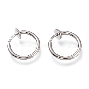304 Stainless Steel Retractable Clip-on Hoop Earrings, For Non-pierced Ears, with Spring Findings, Stainless Steel Color, 13x0.8~1.5mm(STAS-O135-01E)