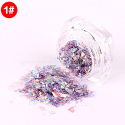 Flocons de coquille de couleur bonbon, manucure nail art décoration, paillettes pour ongles, lilas, 3x1.5 cm(MRMJ-L001-27A)