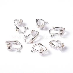 conclusions de boucle d'oreille de fer, pour oreilles non percées, plaqué argent, environ 13.5 mm de large, 15.5 mm de long, 7 mm d'épaisseur, trou: environ 1.2 mm(EC141-S)