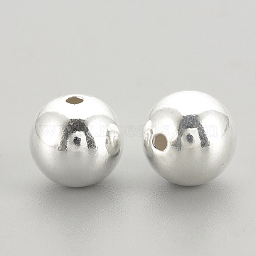 925 Sterling Silver Beads, Round, Silver, 6x5.5mm, Hole: 1.5mm(X-STER-S002-15-6mm)