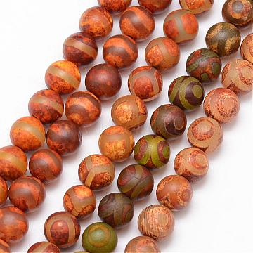 Tibetan Style Mixed Pattern dZi Beads, Natural Agate Bead Strands, Round, Frosted, Dyed & Heated, Mixed Color, 8mm, Hole: 1mm; about 23pcs/strand, 7.5inches(G-K166-03-8mm-L2)