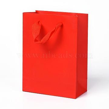 Sacs en papier kraft, avec poignées, sacs-cadeaux, sacs à provisions, rectangle, rouge, 16x12x5.9 cm(AJEW-F005-03-A)