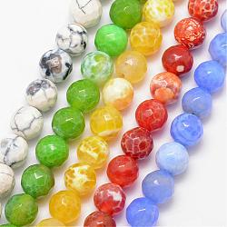 Natural Agate Bead Strands, Round, Grade A, Faceted, Dyed & Heated, Mixed Color, 8mm, Hole: 1mm; about 47pcs/strand, 15inches