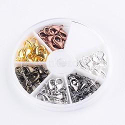 1 boîte 6 couleurs fermoirs laiton pince de homard, or et argent et le platine et gris anthracite antique et cuivre rouge et gris anthracite, sans plomb et sans cadmium, 15x9x3.5mm, trou: 1.8mm; 10pcs / couleur; 60pcs / boîte(KK-X0091-903-RS)