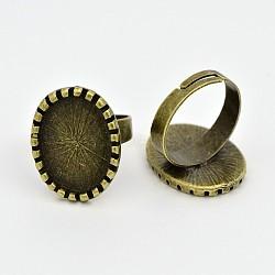 Composants d'anneau en laiton réglable cru, accessoires de bague de pad, avec alliage supports cabochon lunette ovale, sans nickel, bronze antique, plateau: 13x18 mm; 17x5 mm(MAK-J007-60AB-NF)