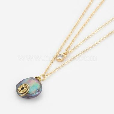 Natural Baroque Pearl Keshi Pearl Tiered Necklaces(NJEW-JN02255-01)-2