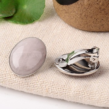 Natural Rose Quartz Oval Clip-on Earrings, with Platinum Plated Brass Findings, 21x15mm(EJEW-J091-08)