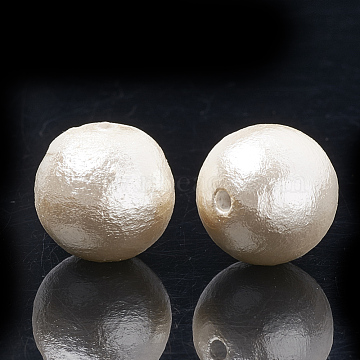 Compressed Cotton Pearl Beads, Environmental, Dyed, Round, FloralWhite, 12~12.5mm, Hole: 1.5mm(WOVE-S114-12mm-12)