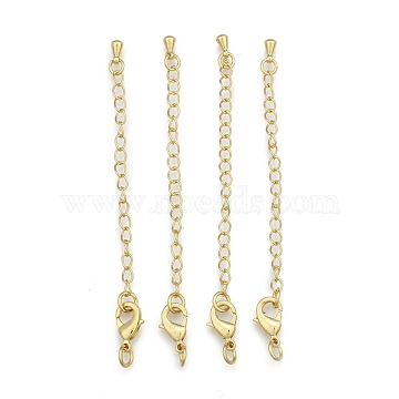 Long-Lasting Plated Brass Chain Extender, with Lobster Claw Clasps and Bead Tips, Real 24K Gold Plated, 12x7x3mm, Hole: 3.5mm, Extend Chain: 65mm, ring: 5x1mm(KK-F711-09G)