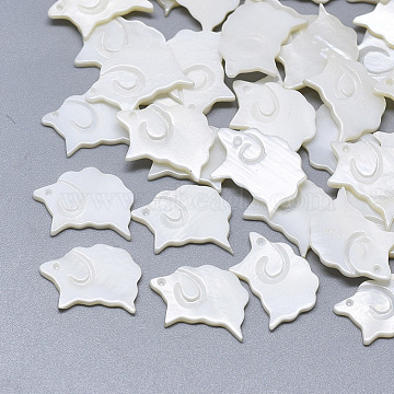 Freshwater Shell Cabochons, Carved Sheep, Seashell Color, 10~11x15x1~2mm(SHEL-S264-043)
