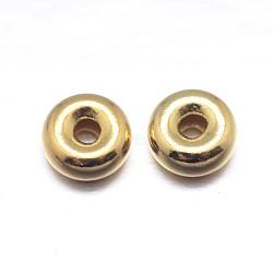 vraies perles d'espacement en argent sterling plaqué or plat 18 k, or, 4.5x2 mm, trou: 1.2 mm; environ 208 pcs / 20 g(STER-M101-10-4.5mm)