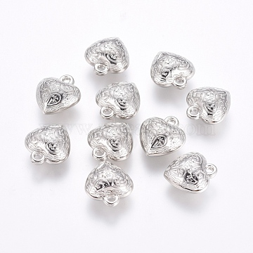 CCB Plastic Pendants, Heart, Platinum, 18.5x18x9.5mm, Hole: 2mm(CCB-G006-157P)