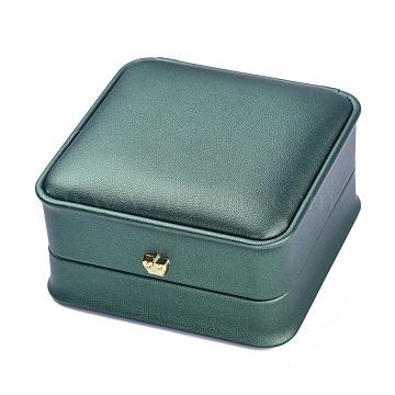 PU Leather Bracelet Box, with Golden Iron Crown, for Wedding, Jewelry Storage Case, Square, Dark Green, 3-3/4x3-3/4x2 inch(9.6x9.6x5.1cm)(LBOX-A002-03C)