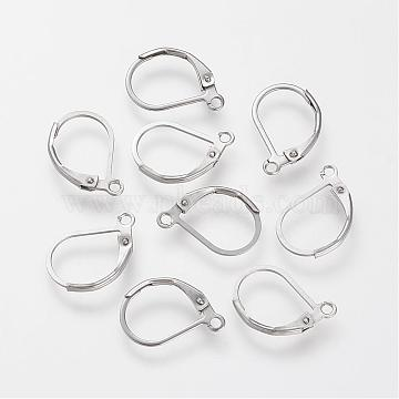 304 Stainless Steel Leverback Earring Findings, with Loop, Stainless Steel Color, 16x10.5x0.5mm, Hole: 1.5mm, pin: 0.5mm(STAS-S066-13)