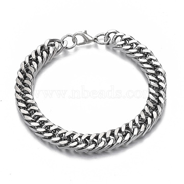 Men's Alloy Cuban Link Chain Bracelets, with Lobster Claw Clasps, Faceted, Gunmetal & Platinum, 8-5/8 inches(22cm), 10mm(X-BJEW-T014-01)