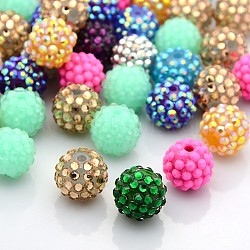 Resin Rhinestone Beads, DIY Material for Jewelry Making, Round, Mixed Color, Size: about 16mm in diameter, hole: 1.5mm(CLAY-G005-M)