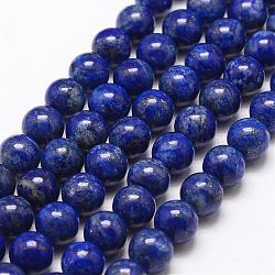 Natural Lapis Lazuli Bead Strands, Round, 10mm, Hole: 1mm; about 38pcs/strand, 15.5