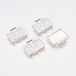 Fermoirs de boîtes à rangées de multi-brin en laiton, couleur argentée, environ 21 mm de large, Longueur 23mm, 5 mm d'épaisseur, trou: 1.5 mm(X-kk291-S)