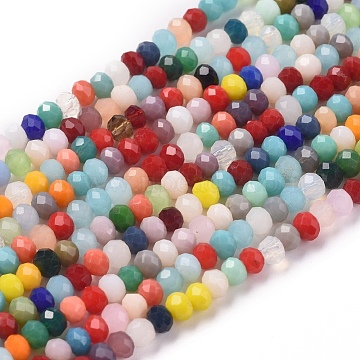 Imitation Jade Glass Beads Strands, Faceted, Rondelle, Mixed Color, 3.5x3mm, Hole: 0.7mm, about 144pcs/Strand, 14.96''(38cm)(X-GLAA-E415-01B)