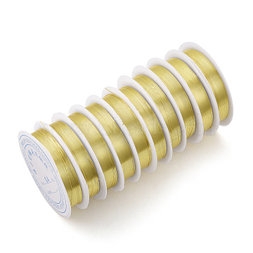 Copper Jewelry Wire, Long-Lasting Plated, Light Gold, 22 Gauge, 0.6mm, about 16.4 Feet(5m)/roll(X-CWIR-Q006-0.6mm-G)