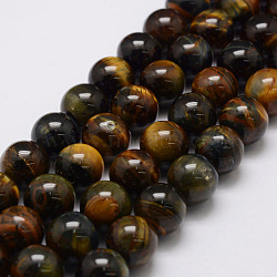 Natural Tiger Eye Bead Strands, Grade AB, Round, 8mm, Hole: 1.2mm; about 49pcs/strand, 14.9 inches~15.5 inches